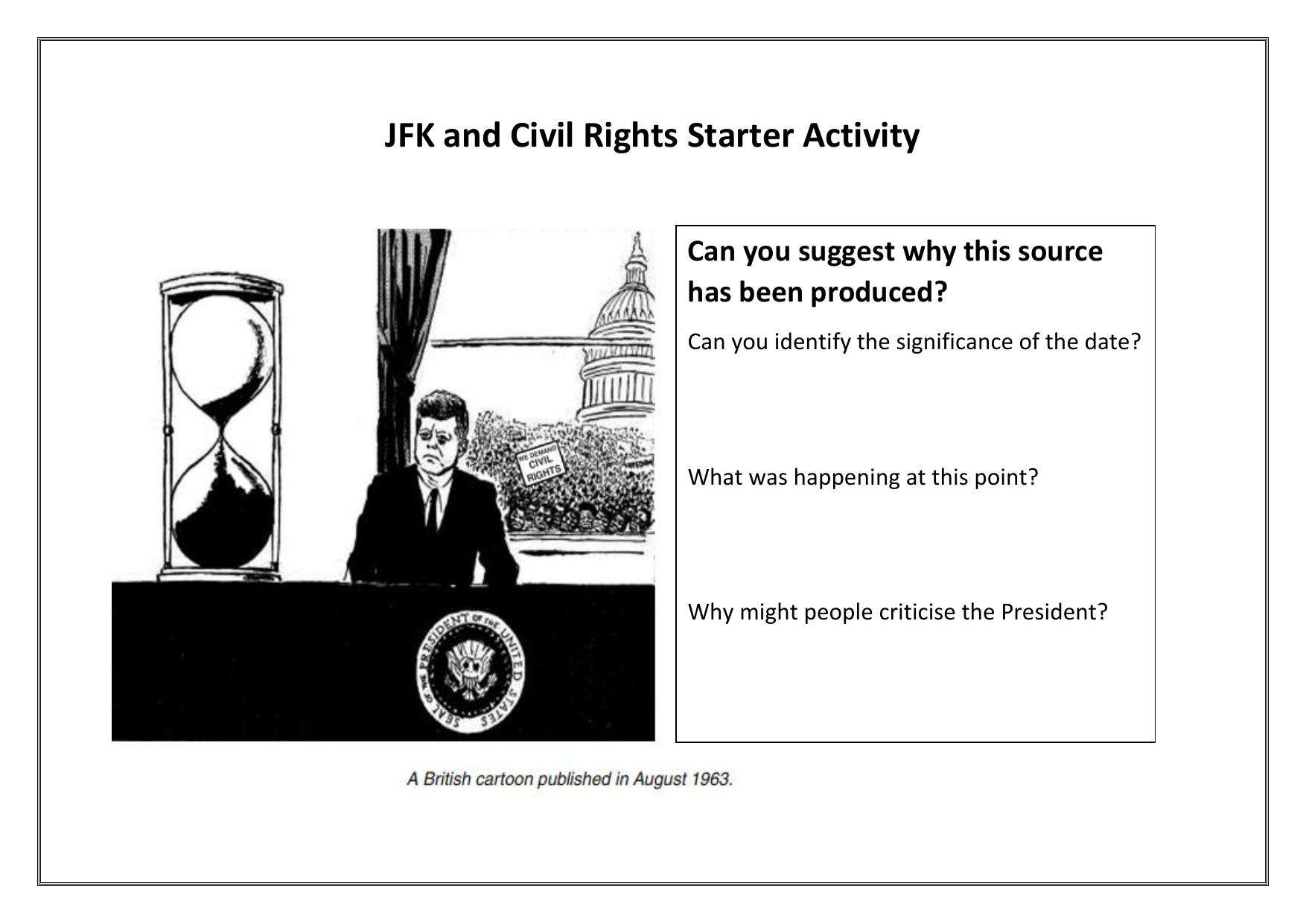 Jfk And Civil Rights Higher Ability Starter Activity Worksheet
