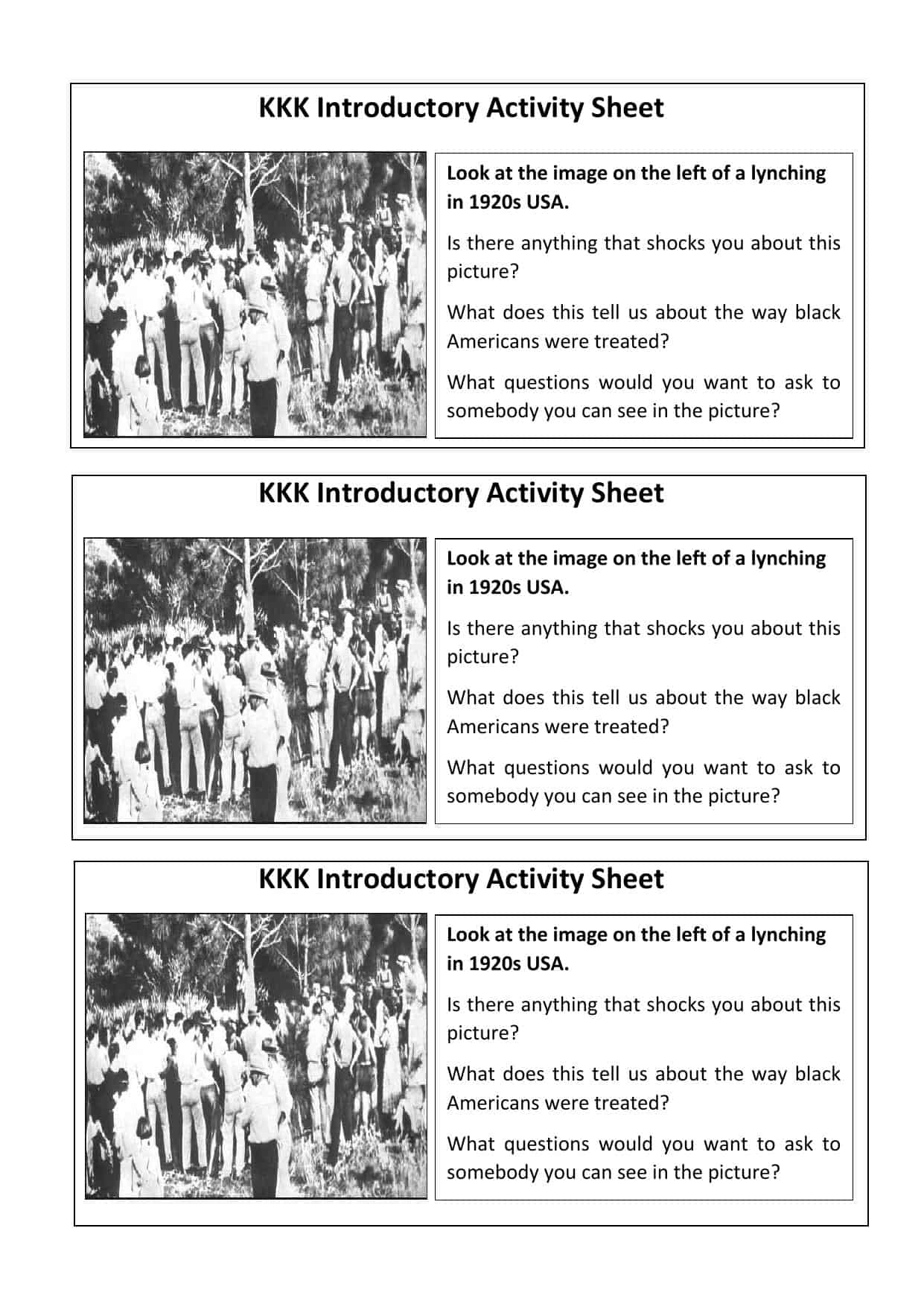 Kkk Ku Klux Klan Gcse Introductory Activity