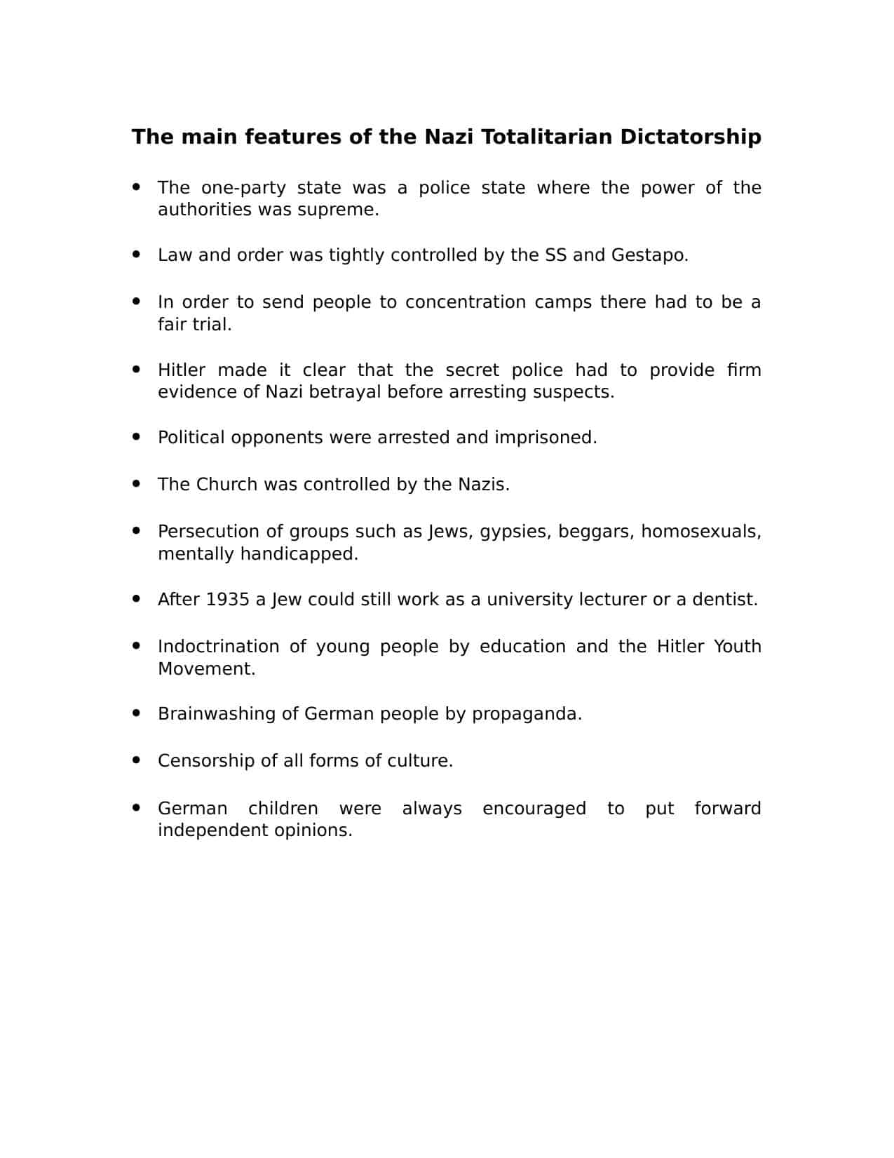 Key Features Of A Totalitarian Dictatorship Worksheet