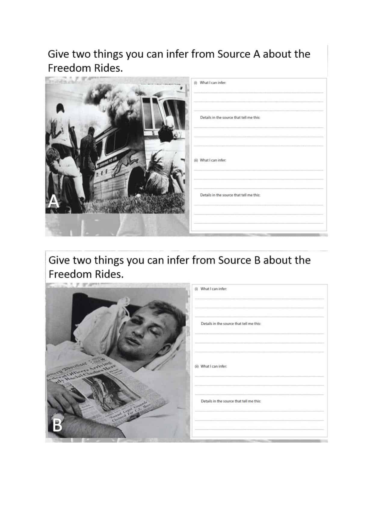Black History Sources Worksheet
