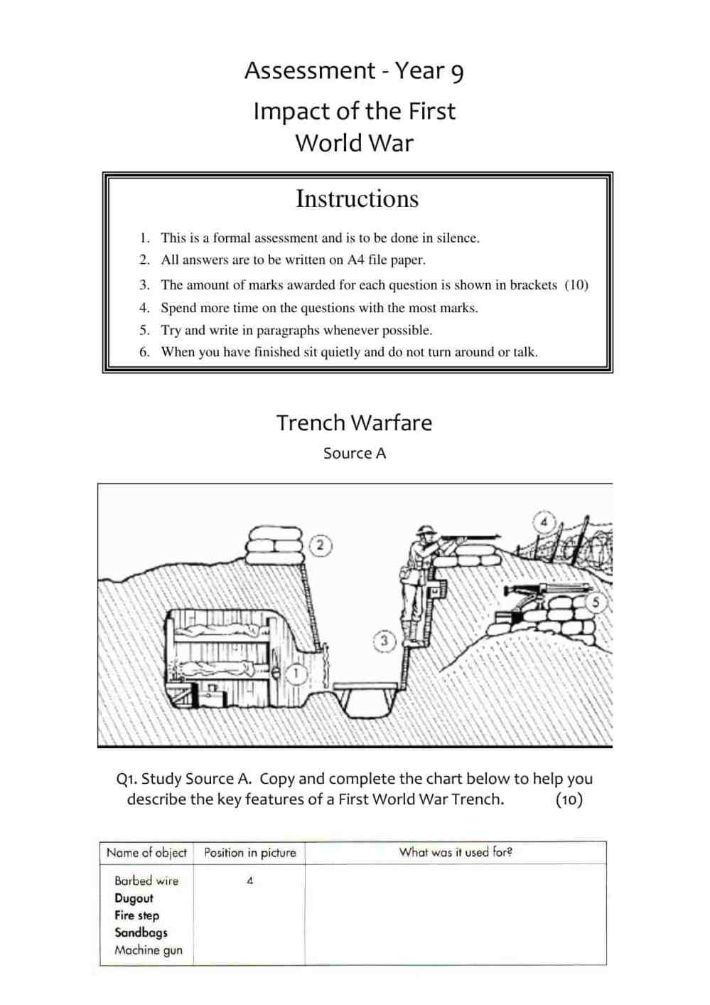 medium resolution of WWI Source Assessment Worksheet   Year 9 (KS3) Lesson Resource