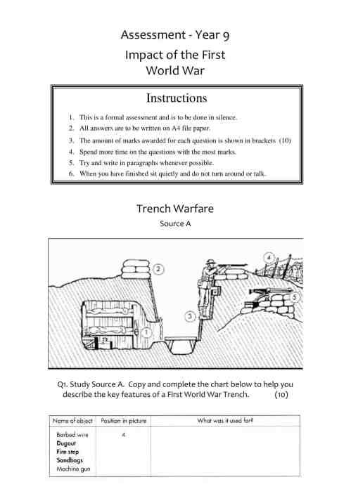 small resolution of WWI Source Assessment Worksheet   Year 9 (KS3) Lesson Resource