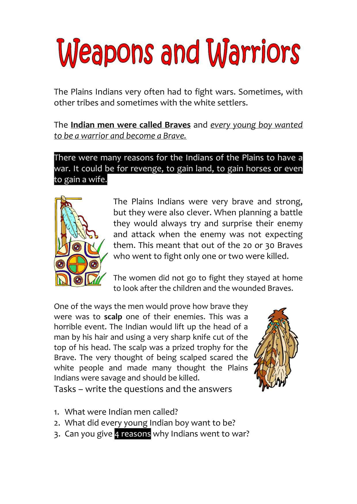 Native American History Worksheets