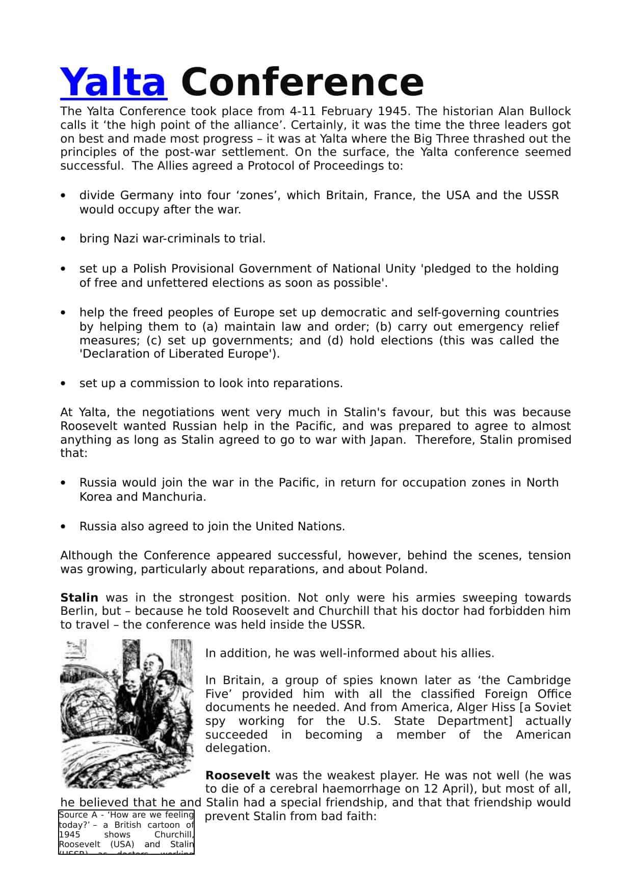 Yalta Conference Igcse Worksheet