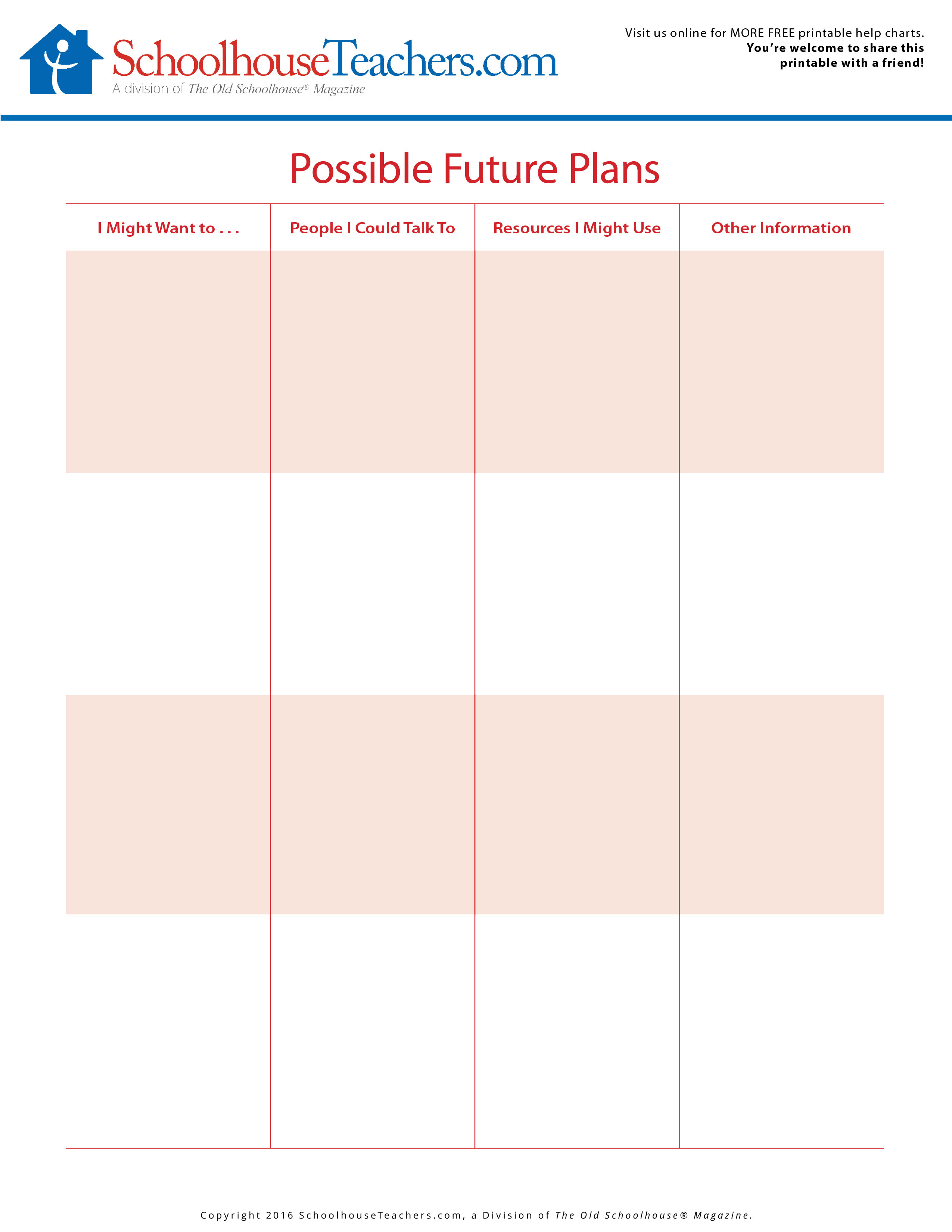 Future Planning Worksheets