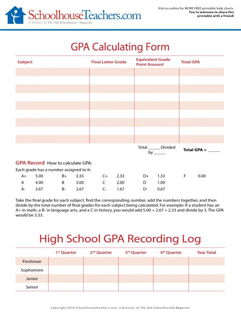 High School College Prep Worksheets