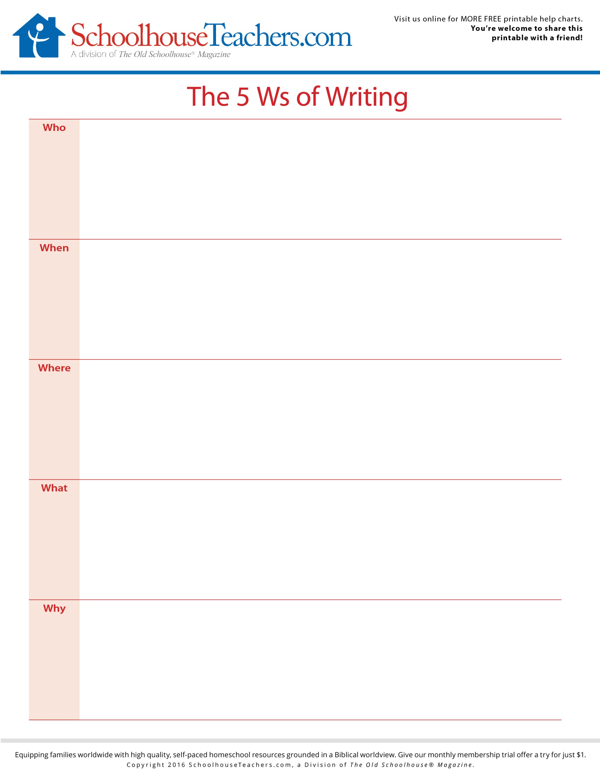 hight resolution of Free School Printable Worksheets   5 W's of Creative Writing