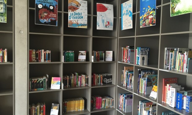 Library shelves in primaire of Ecole Moser