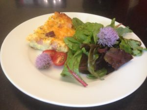 Breakfast Bake with Salad and Chive Flowers