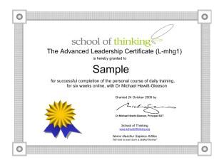 Advanced Leadership Certificate SOT