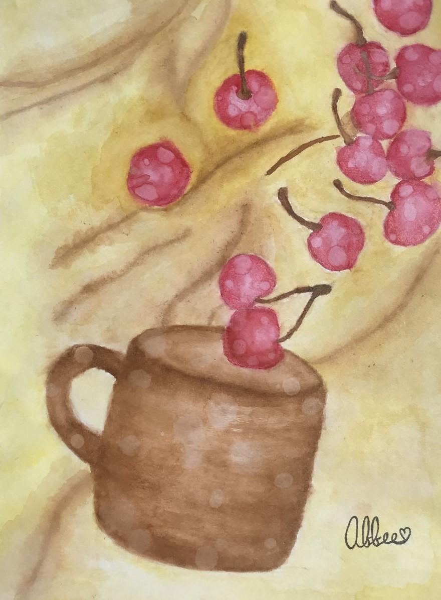 watercolor mug and cherries