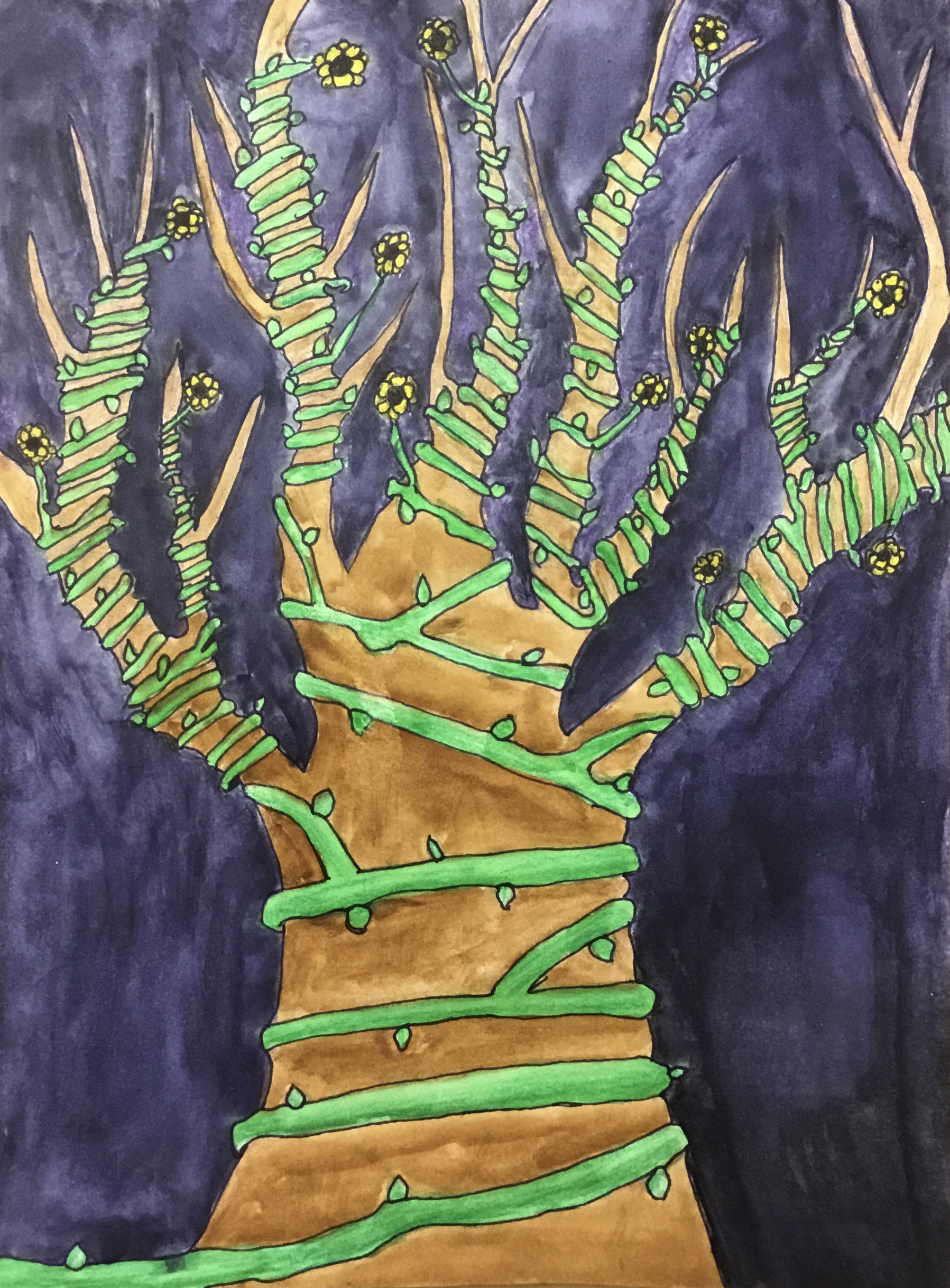 tree covered in vines in watercolor