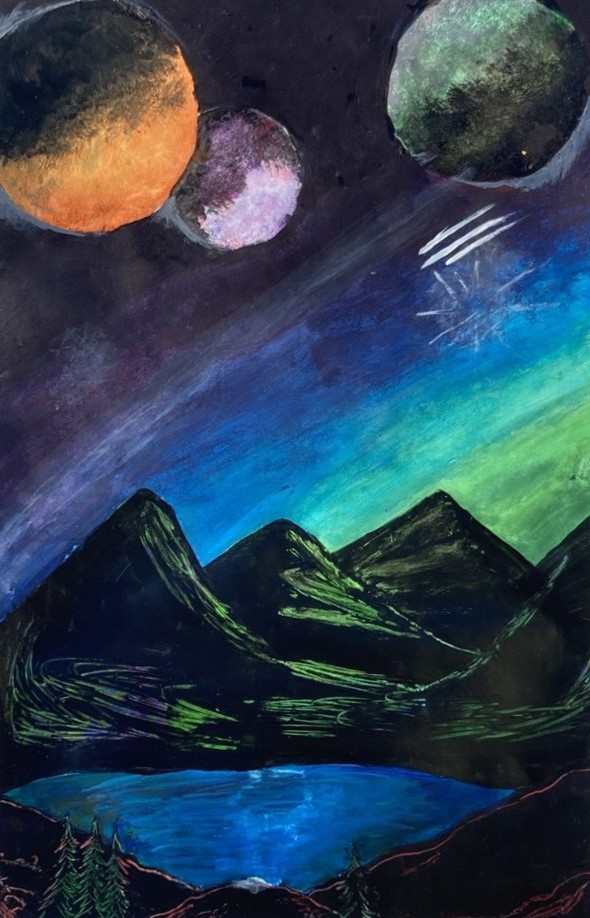 planets over mountains in pastels
