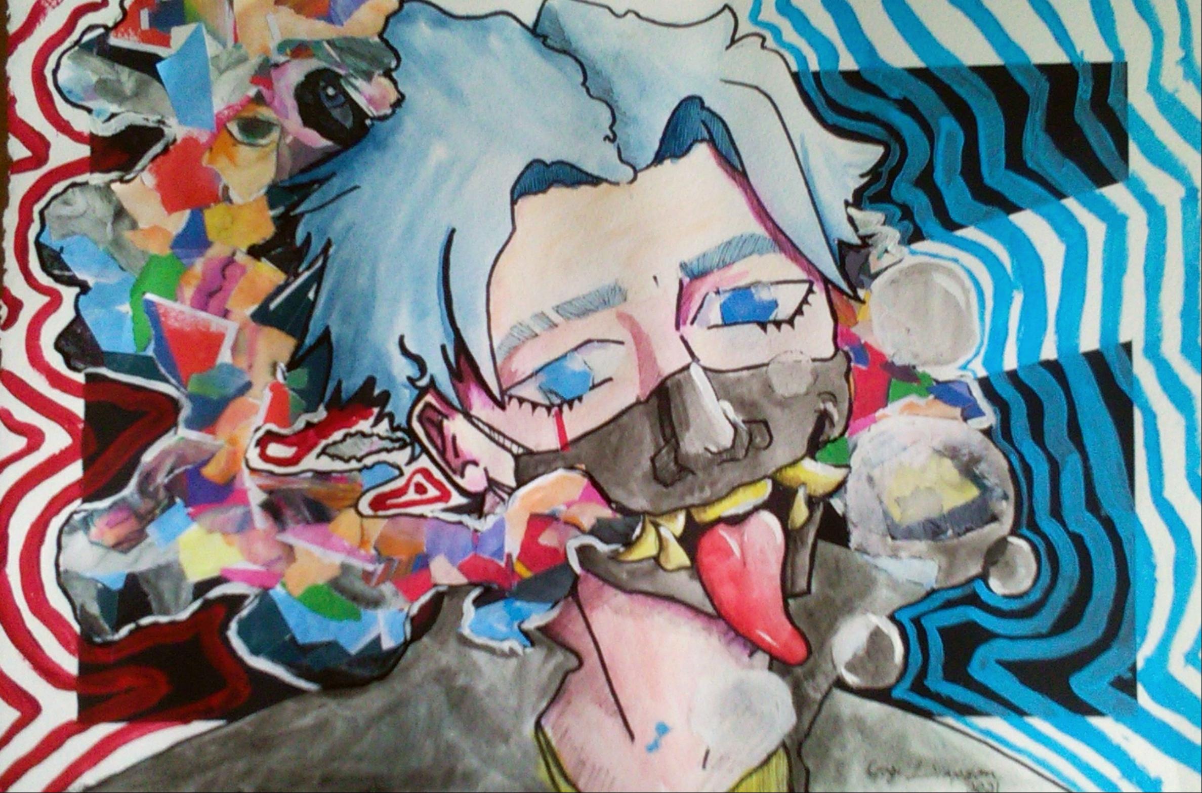 mixed media abstract art face