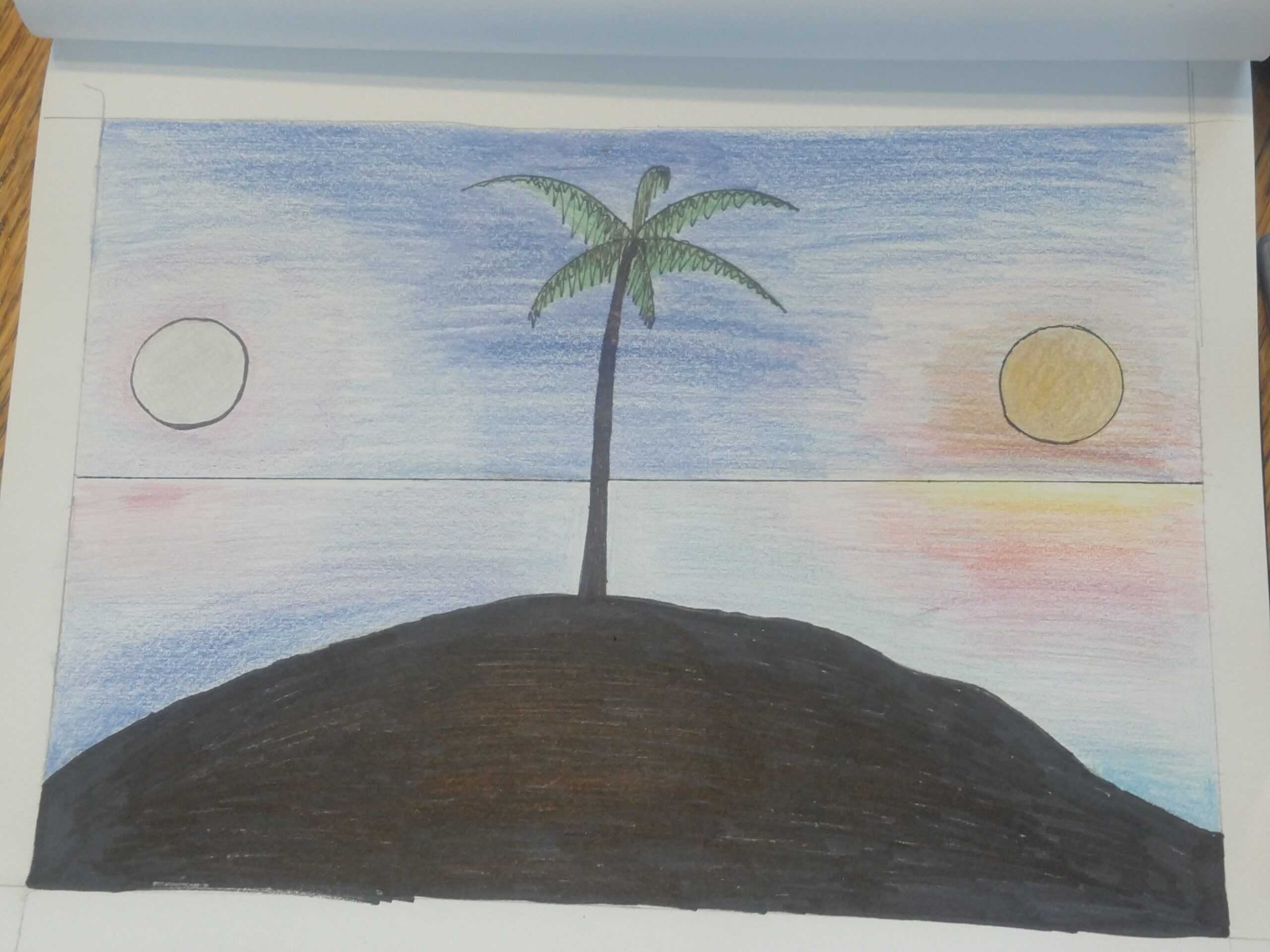 colored pencil palm tree with sun and moon