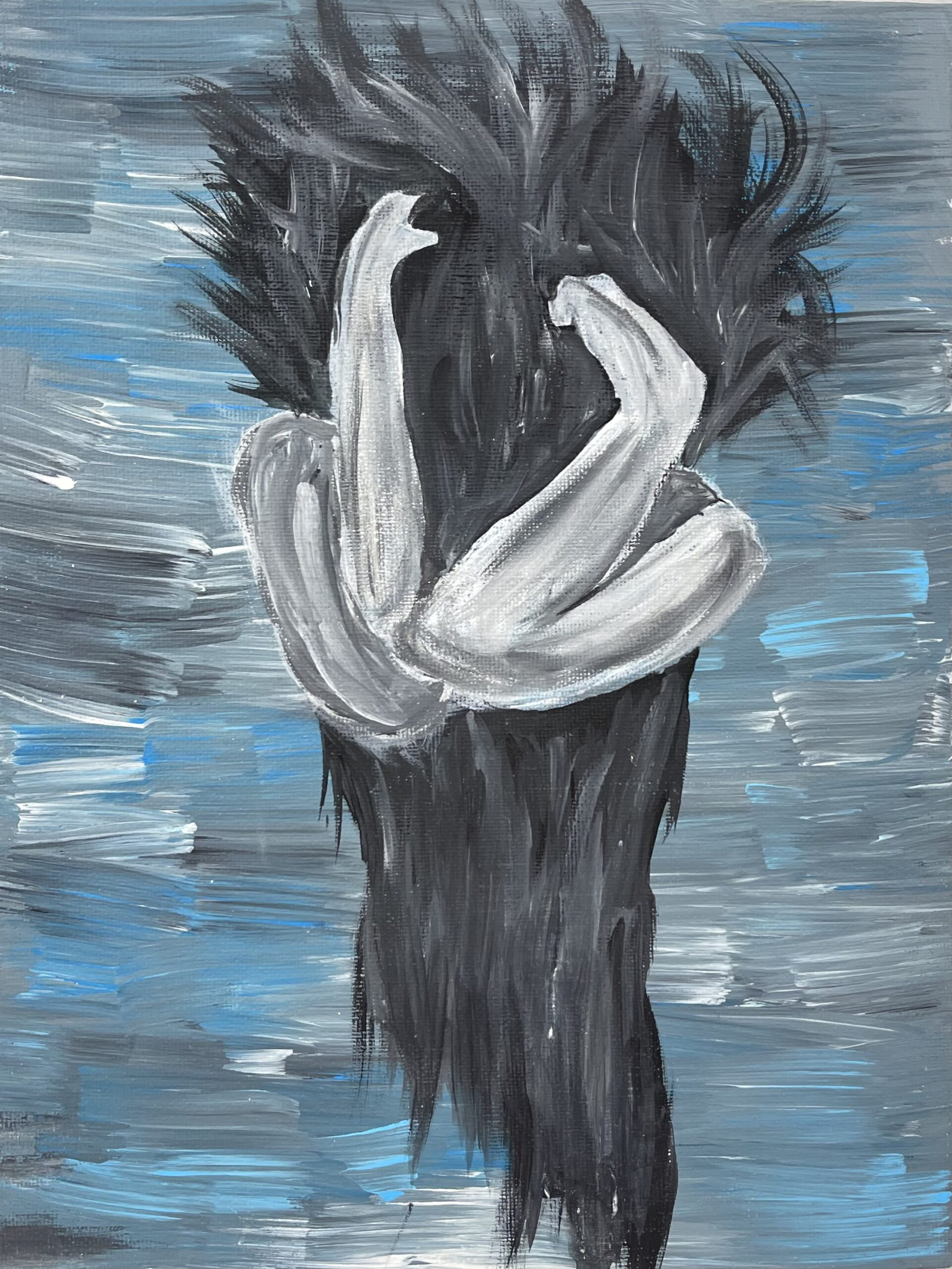 blue and gray oil painting of person