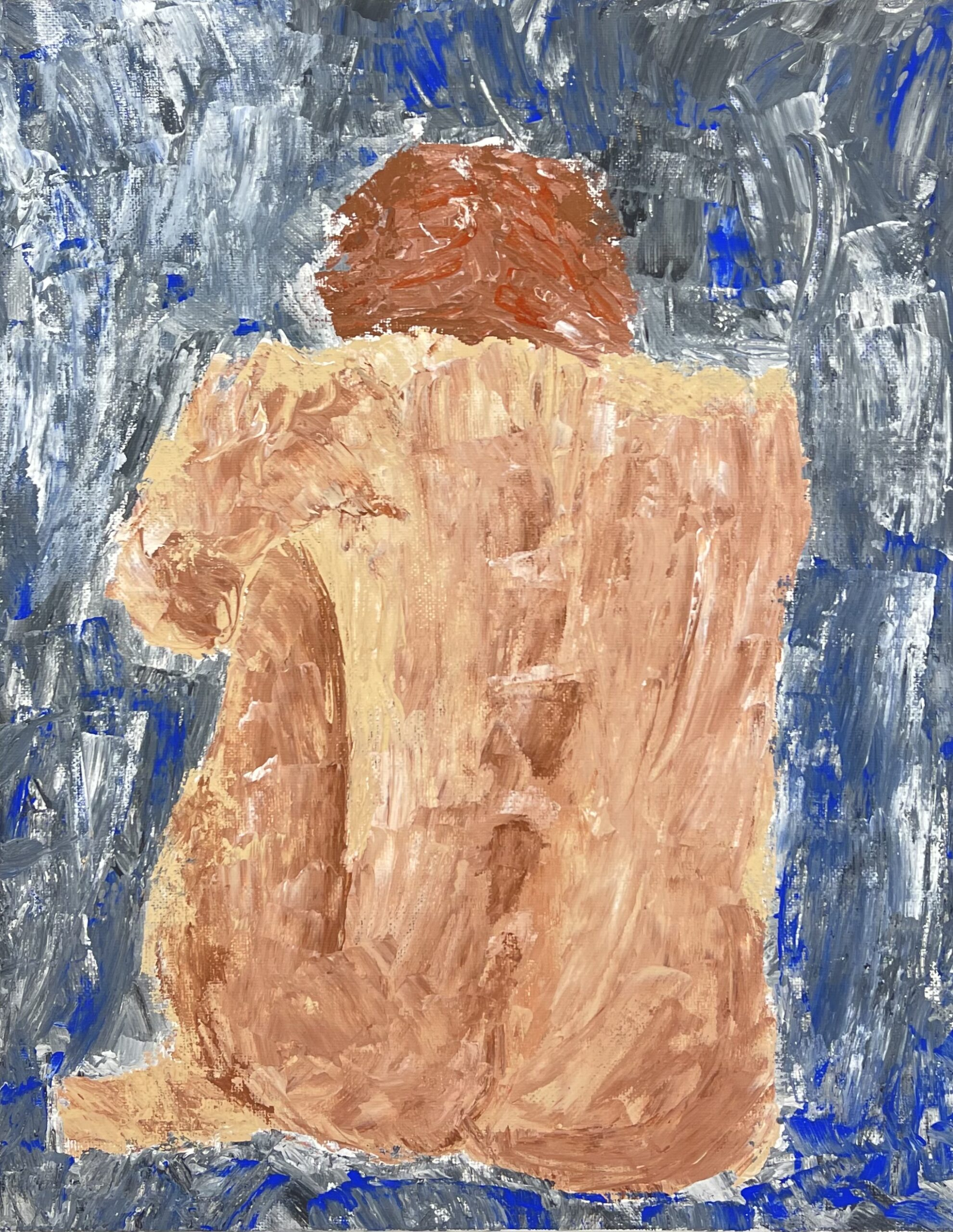 oil painting nude of crouching person from the back