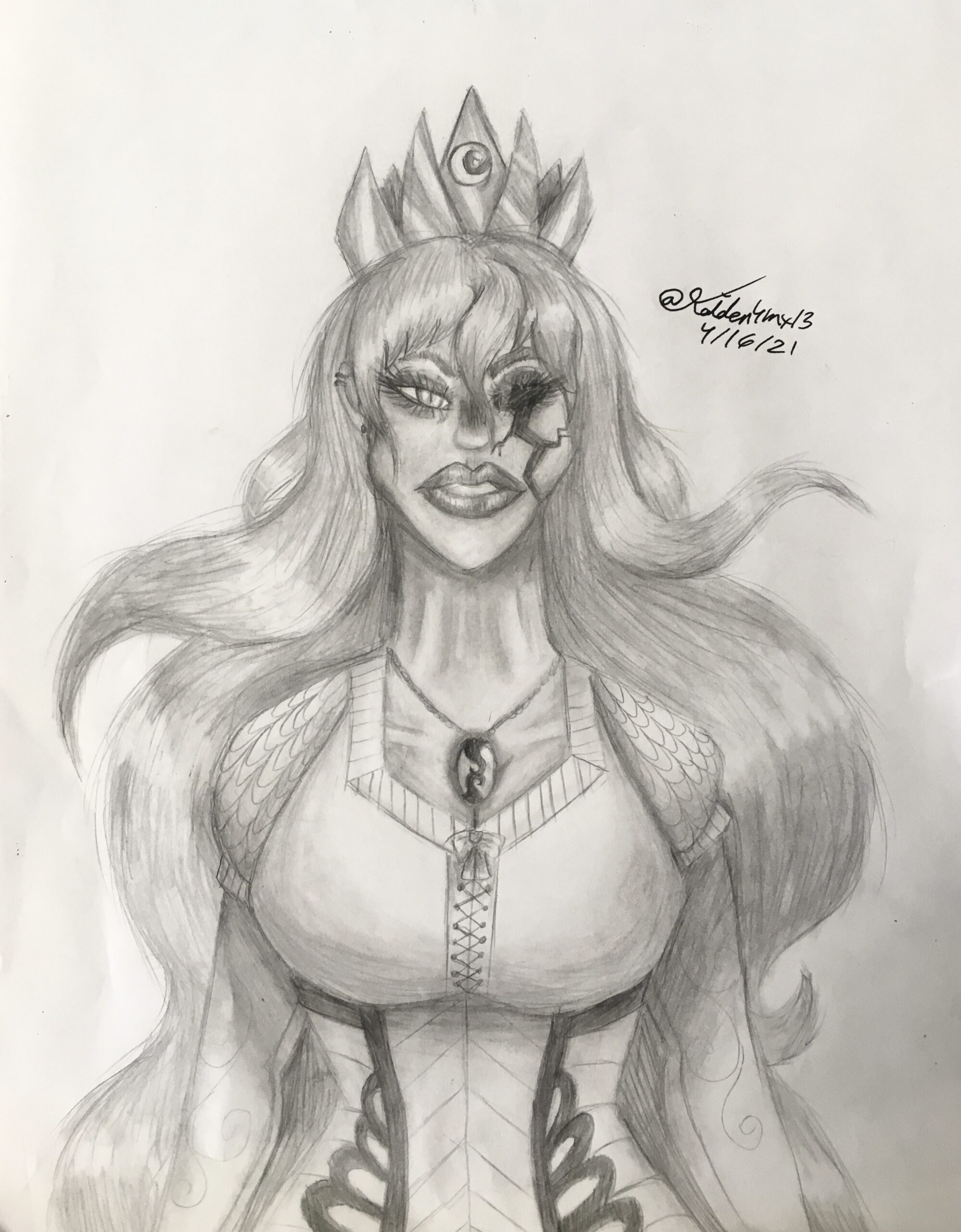 zombie woman in pencil