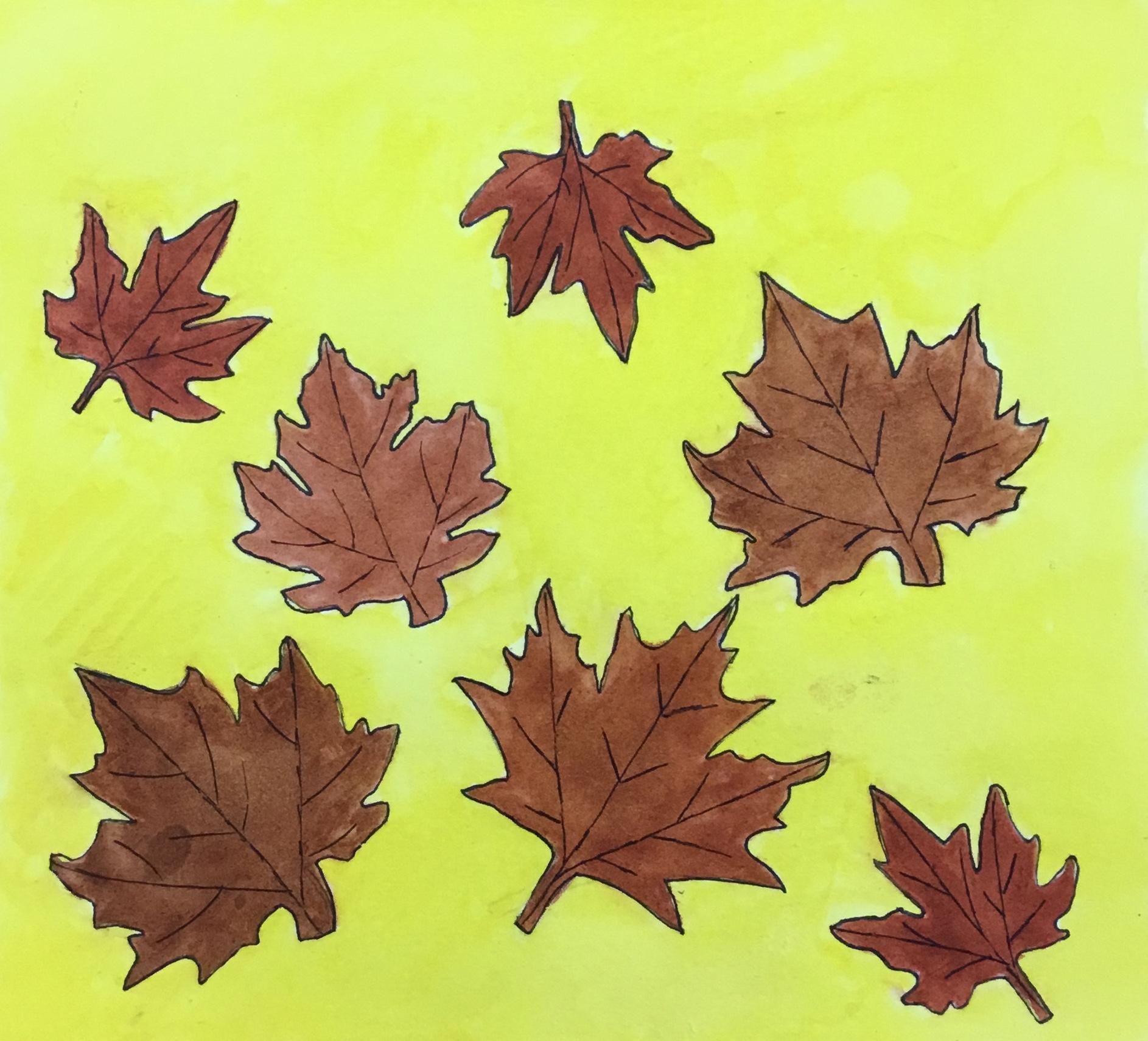 scattered fallen leaves watercolor