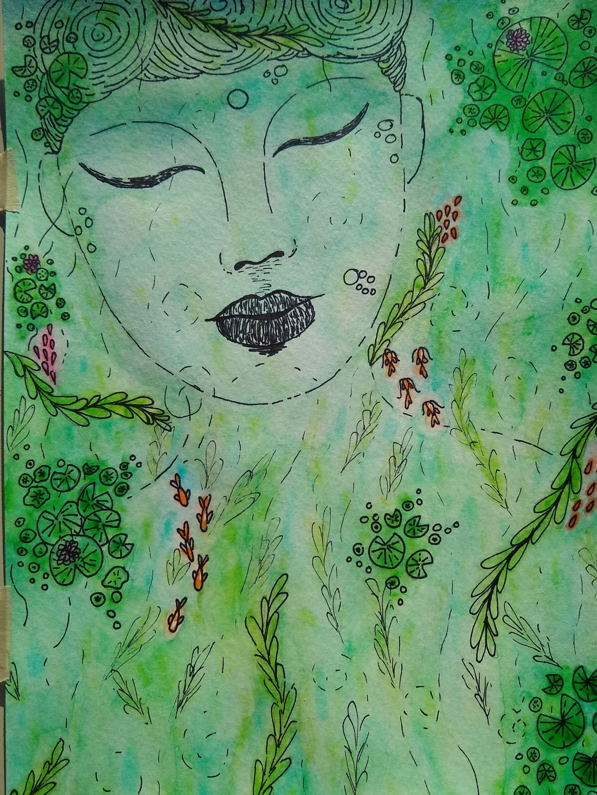 abstract art of green woman