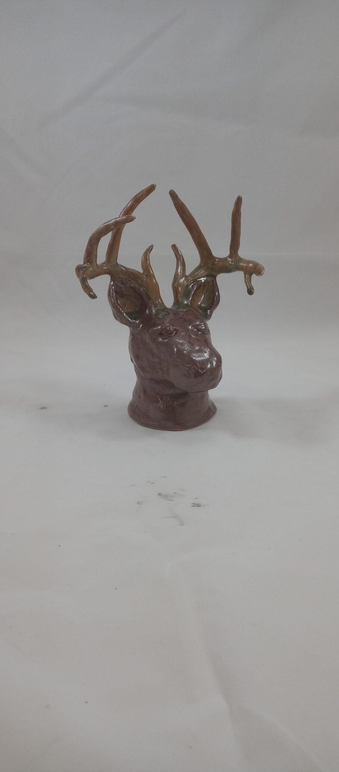 front view deer head sculpture
