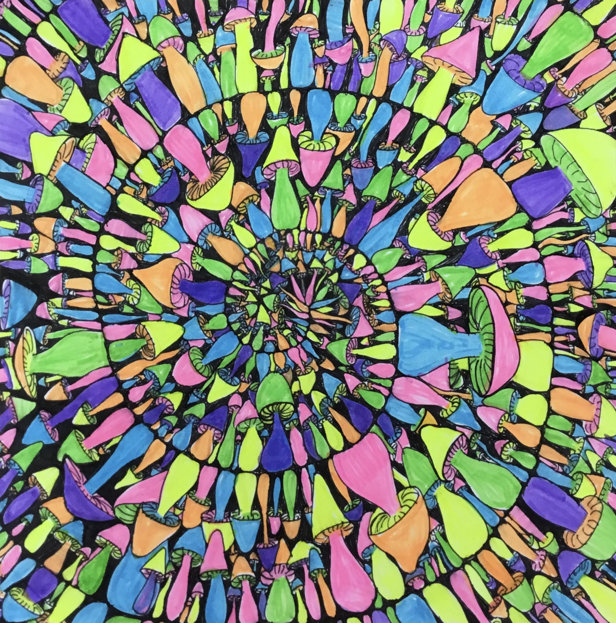 colorful mushroom spiral drawing