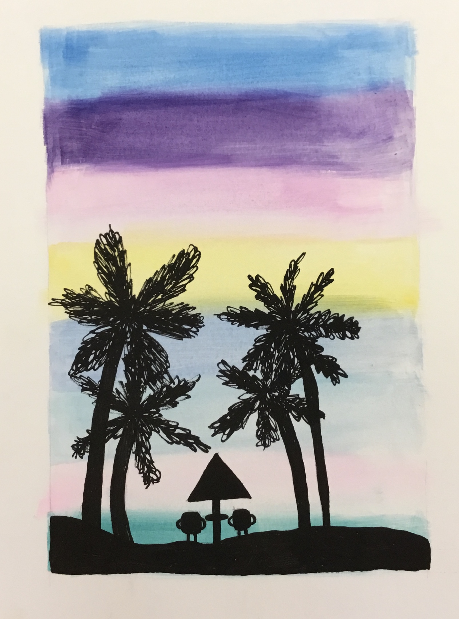 palm trees and sunset watercolor
