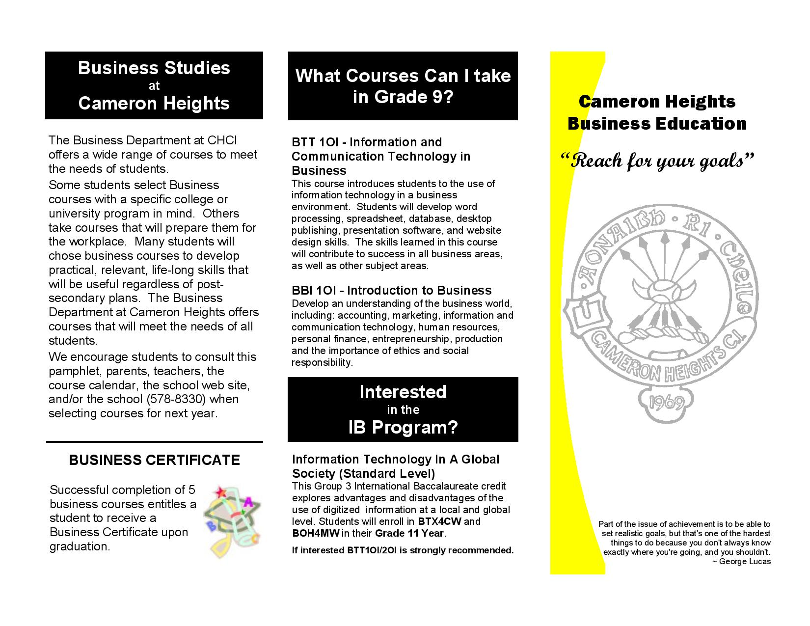 Grade 9 Business Courses Pamphlet (Cameron Heights