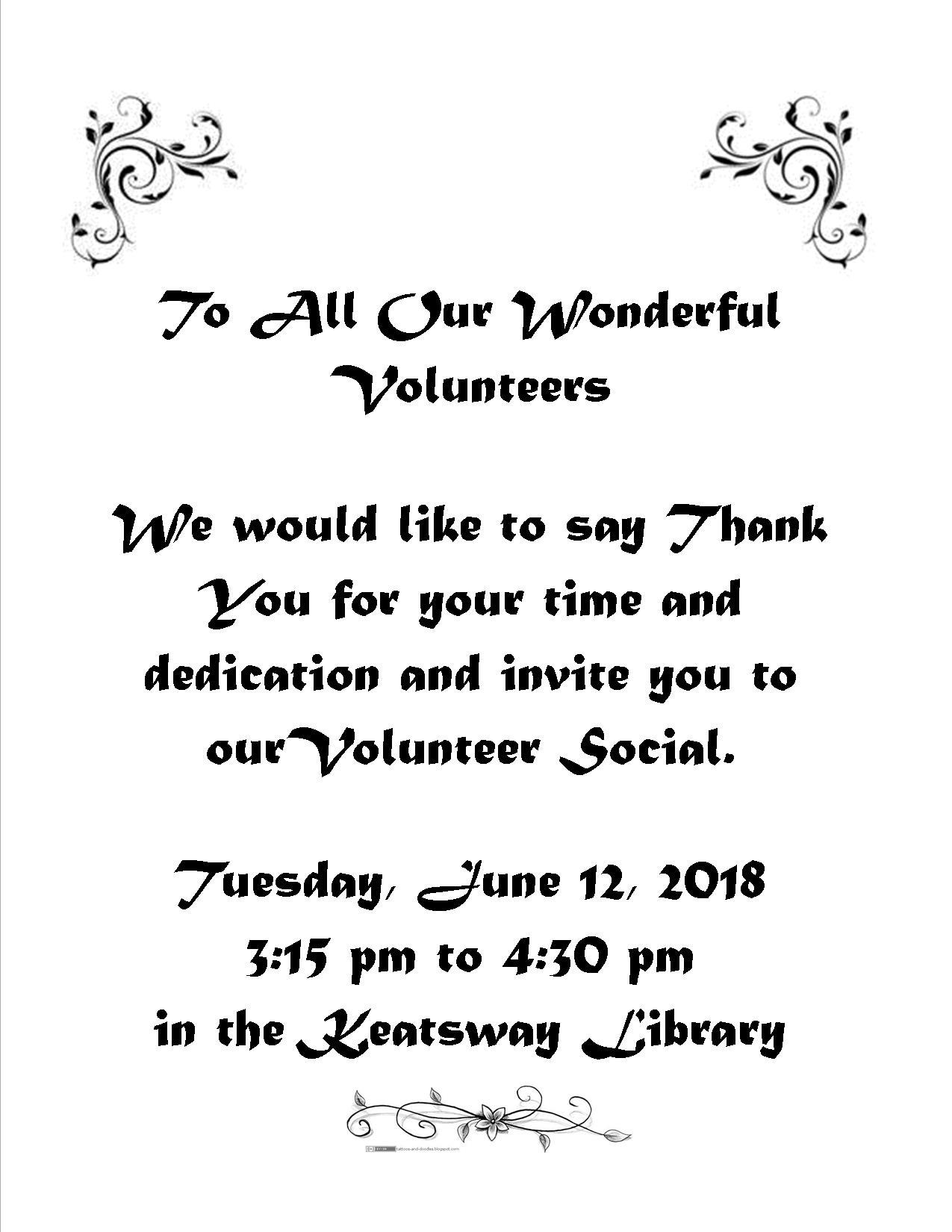 Volunteer Appreciation Invitation (Keatsway Public School)
