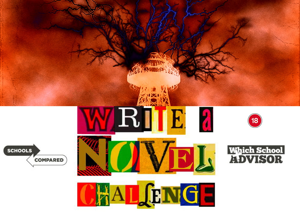 Write a Novel Challenge illustration of the Tower as lightning escapes from the portals in the Mors World
