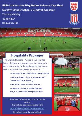 U12 Schools' Cup Hospitality Ad