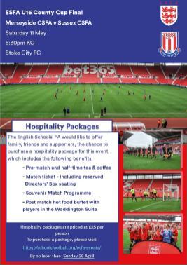 U16 County Cup Hospitality Ad