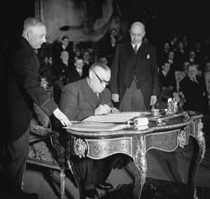 Bevin signing the Brussels Treaty of March 1948