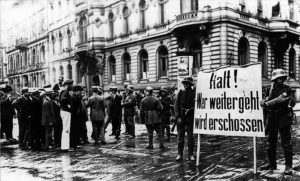 Kapp Putsch. Sign reads: Stop! Anyone who passes will be shot