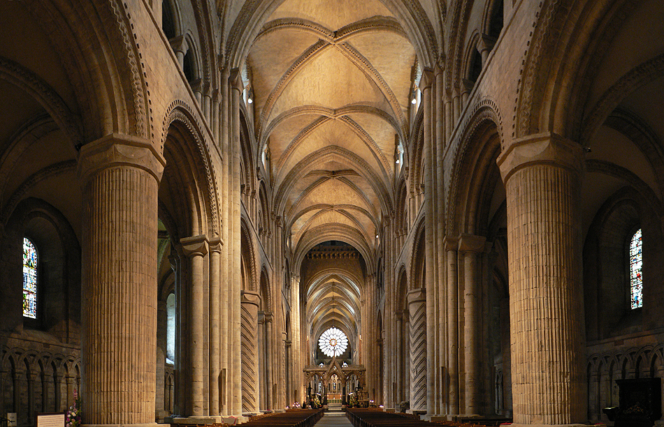 Interior of Durham Cathedral. Architectural style of the Church in Norman England