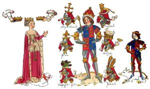Richard III shown with Anne Neville and Prince Edward. Contemporary illumination