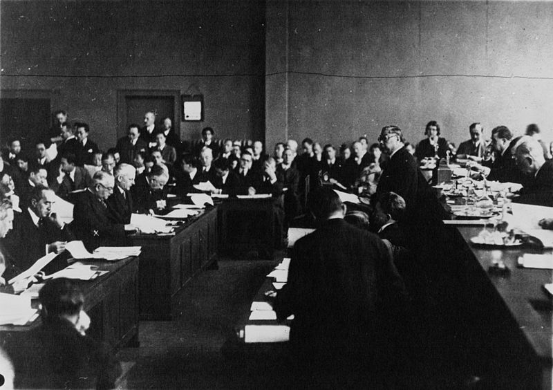 Chinese delegates address the League of Nations commission into the Manchurian Crisis, 1932