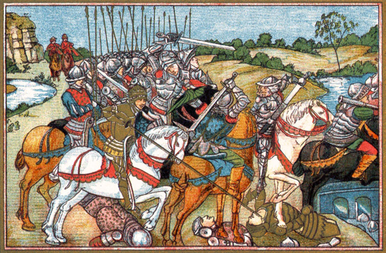 Battle of Barnet. 19th Century Lithograph