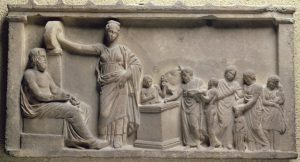 Ancient Greece: A relief showing a sacrifice to the god Asclepius
