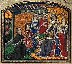 Edward IV being presented with a book by Caxton and Earl Rivers
