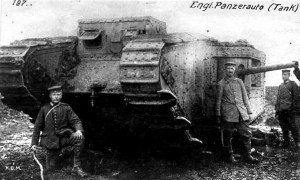 German soldiers with a captured Mark II tank