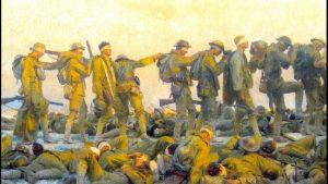 Gassed soldiers walking in line