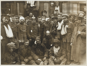 Wounded men of the British IV Division and Indian Corps at Neuve Chapelle