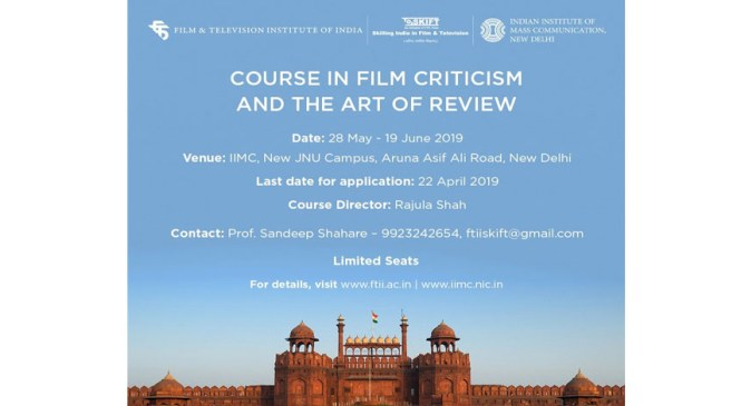 FTII Announces New Course in Film Criticism and the Art of Review
