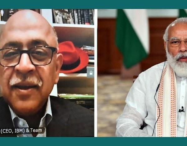 PM Narendra Modi interacts with IBM CEO Arvind Krishna