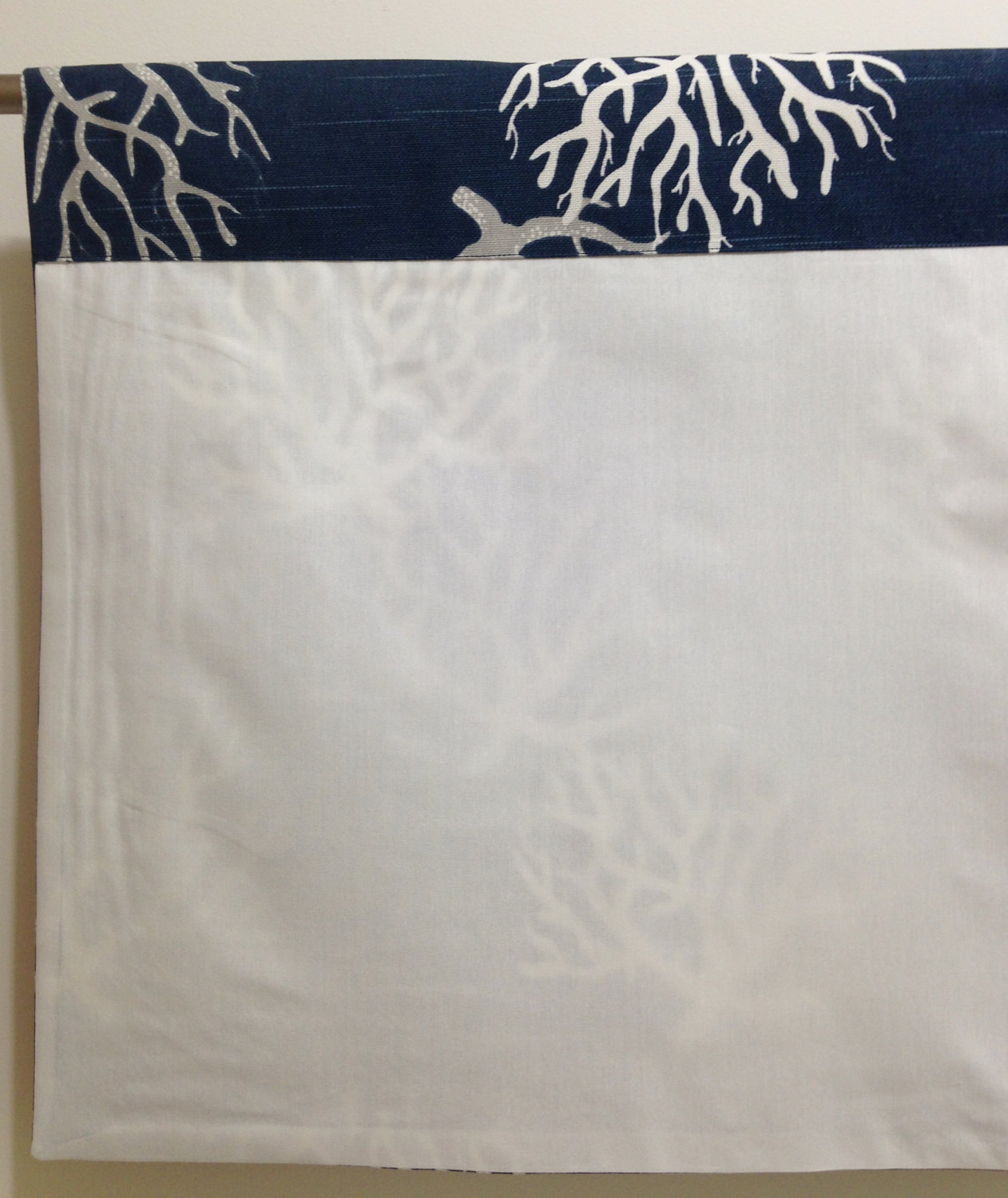 Valance 50 X 16 Designer Schooner Nautical Blue White
