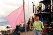 Raising the start flags for the Heinkeken regatta