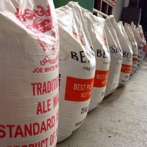 Bags of malt marking where the bar will go in the cellar door.
