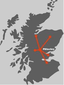 Hier finden Sie die Routen-Uebersicht unserer schottischen Standortreise Pitlochry.