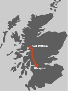 Die Route vom West Highland Way fuehrt von Glasgow nach Fort William.